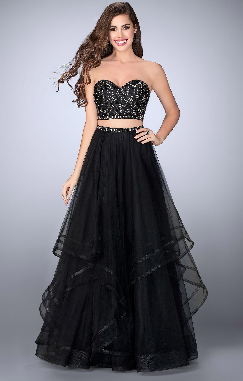 Strapless Pleated La Femme Prom Dress - PromGirl