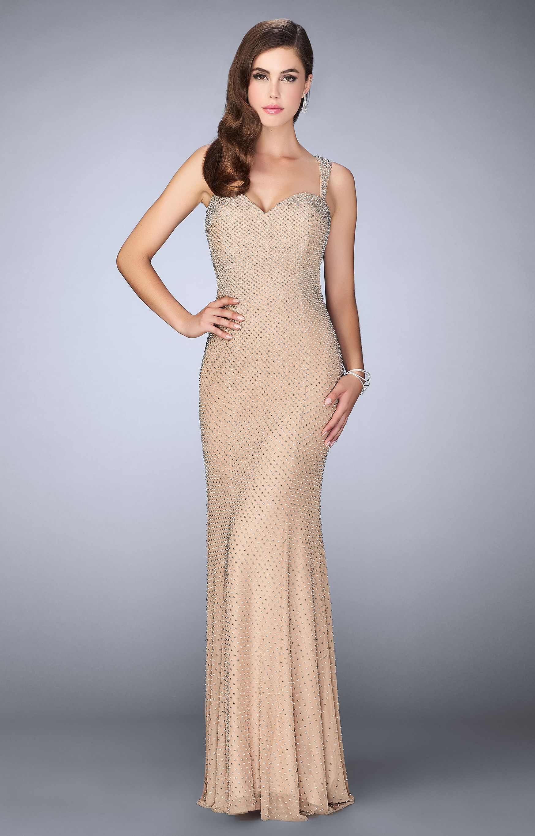 La Femme 23805 Jersey Knit Dress With Open Back Prom Dress