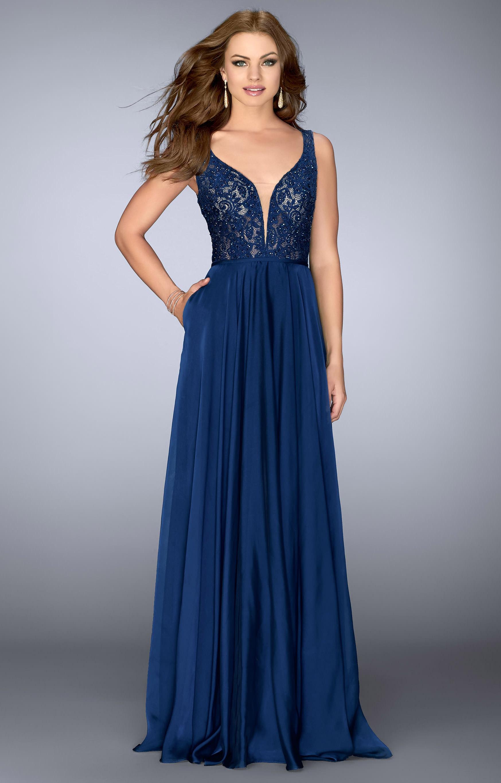 La Femme 23964 Lace Bodice Chiffon Long Dress Prom Dress