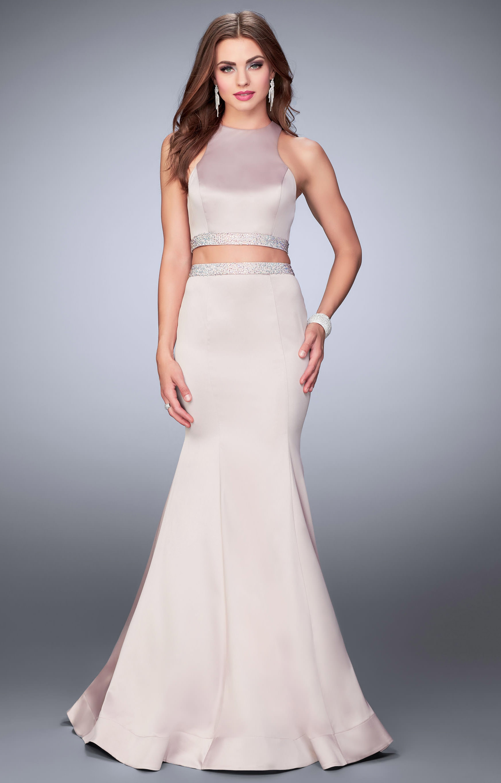 La Femme 23974 Stretch Satin 2 Piece Mermaid Dress Prom