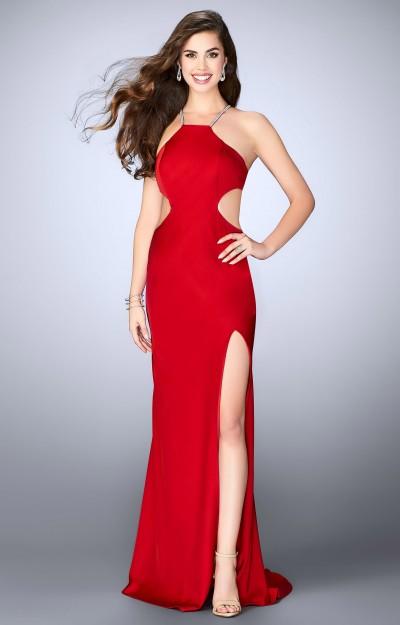 Spot print halter prom dress