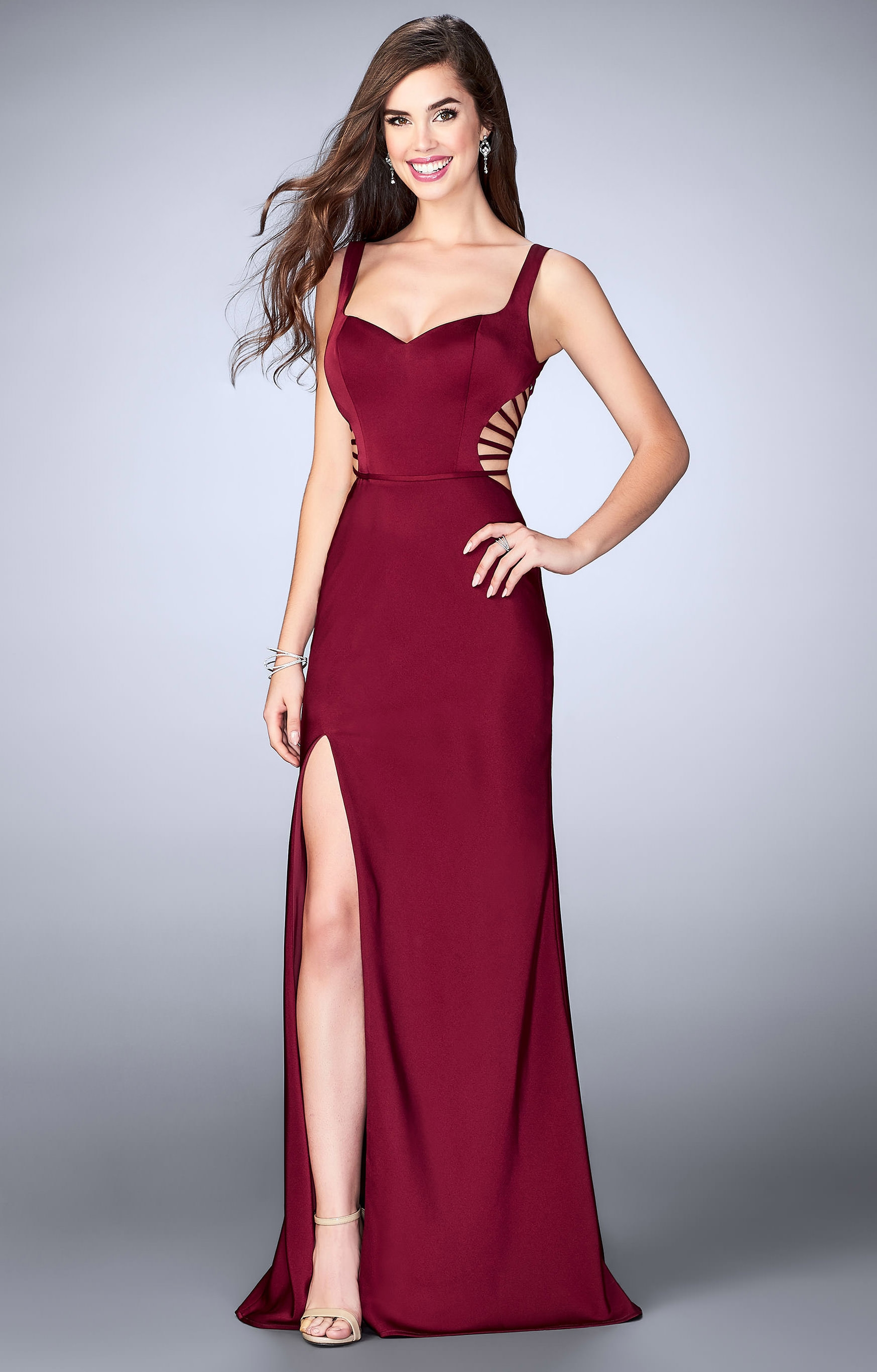 La Femme 24155 Jersey Knit Fitted Long Dress With Cut