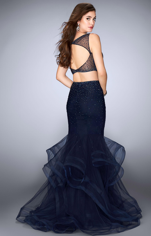 Rose Gold Sequins Open Back Long Sleeves Dress
