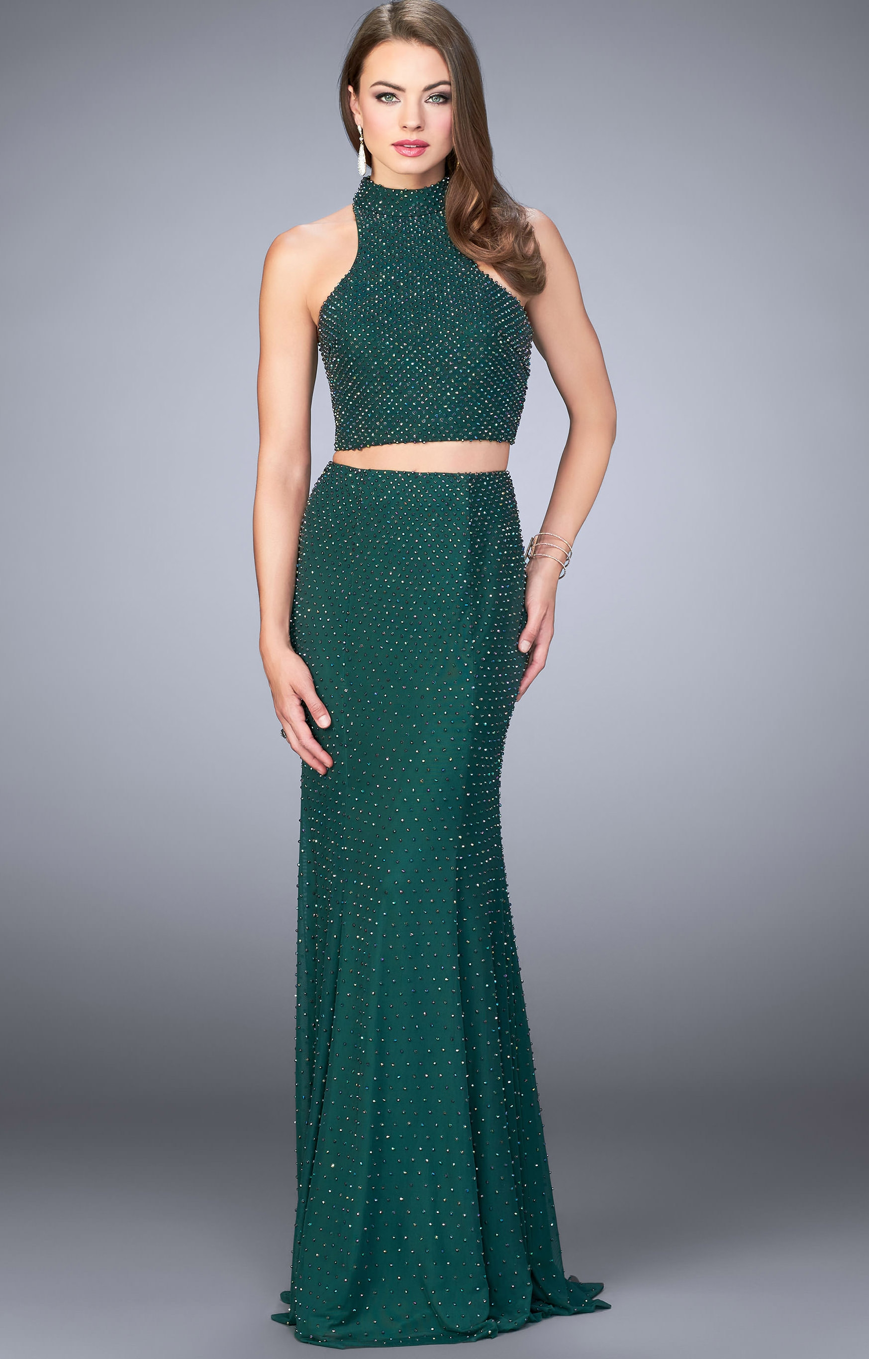 La Femme 24158 - Beaded Two-Piece Dress with Halter Top Prom Dress