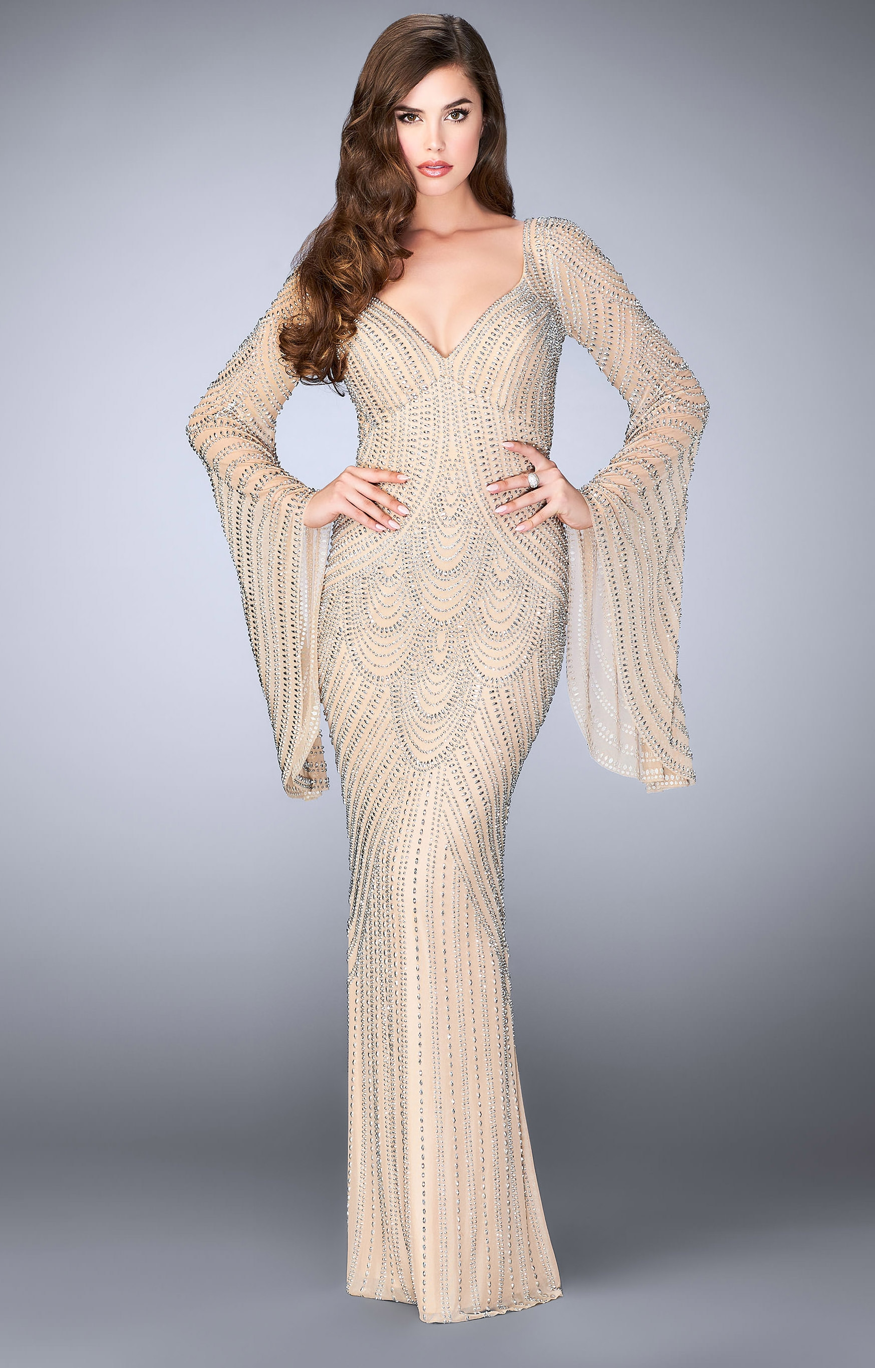 La Femme 24162 Fitted Sequins Dress With Bell Sleeves