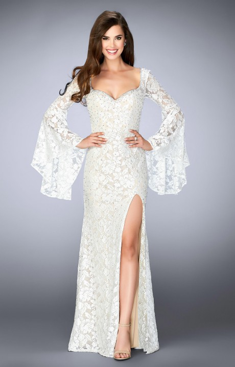 La Femme 24249 Lace Floor Length Gown With Bell Sleeves