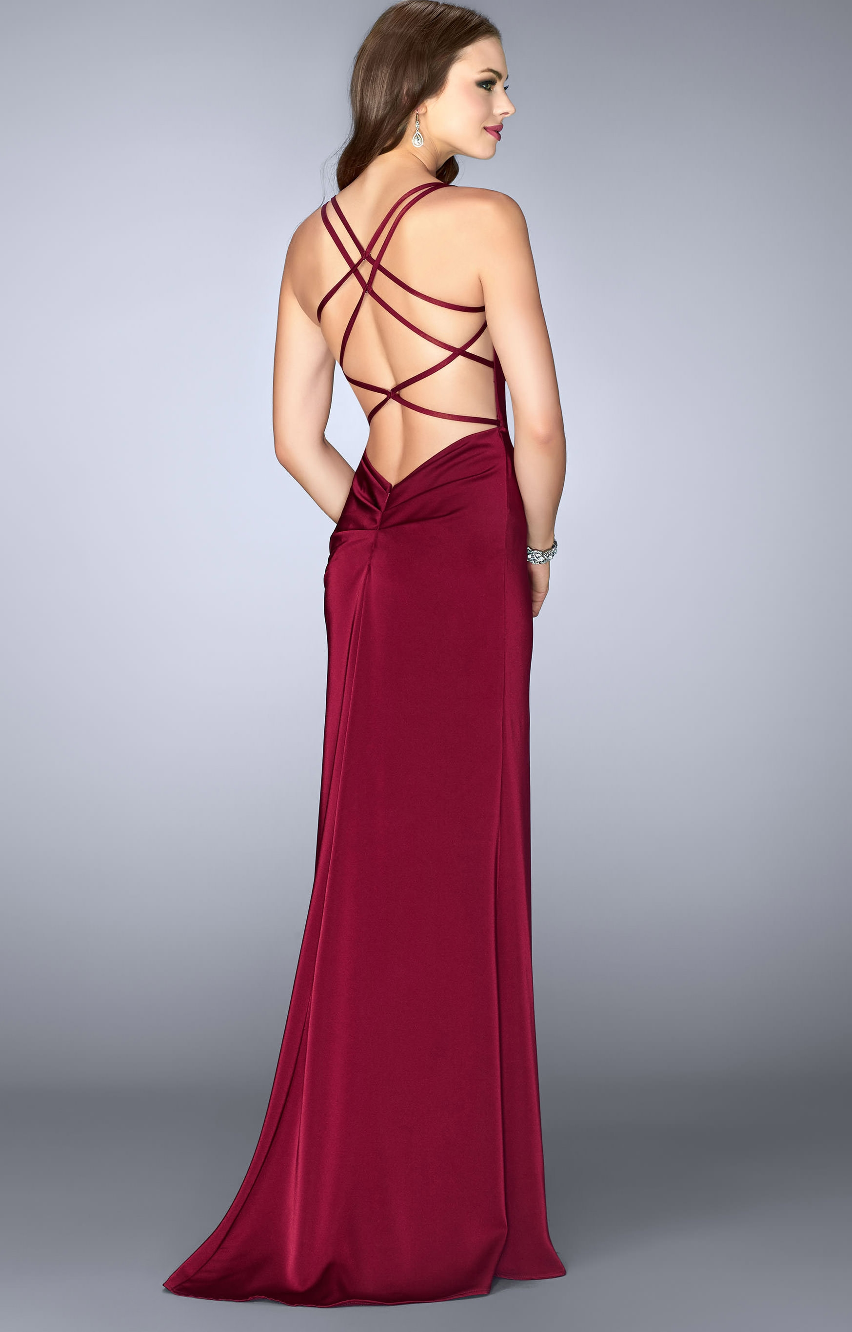 La Femme 24263 Sophisticated Simple Fitted Open Back