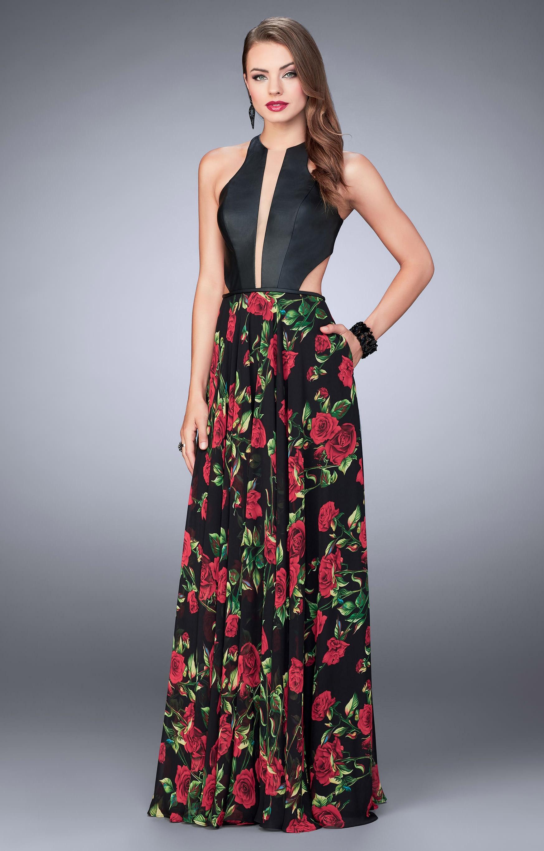 6d3a1a8b597 La Femme 24273 - Sexy A-Ling Halter Open Back Dress