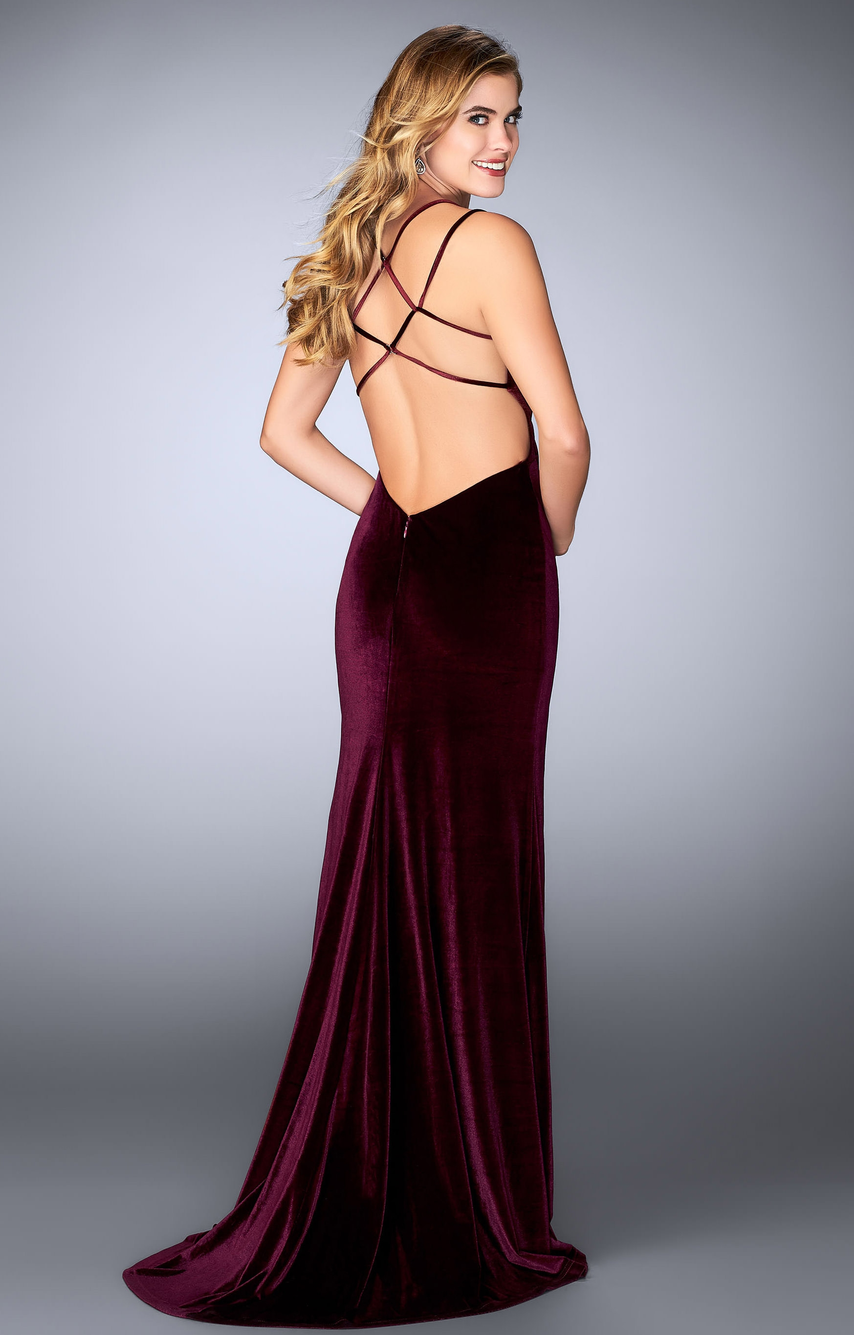 La Femme 24317 - Fitted Velvet with Open Back Detail and