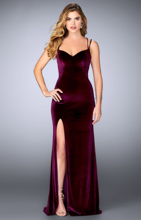 La Femme 24317 Fitted Velvet With Open Back Detail And