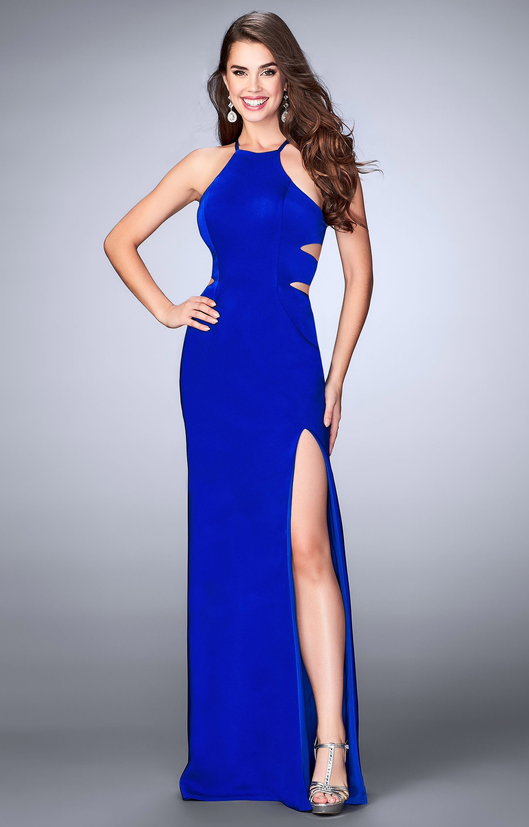 La Femme 24380 - Jersey Knit Dress with Open Back and High Slit Prom ...
