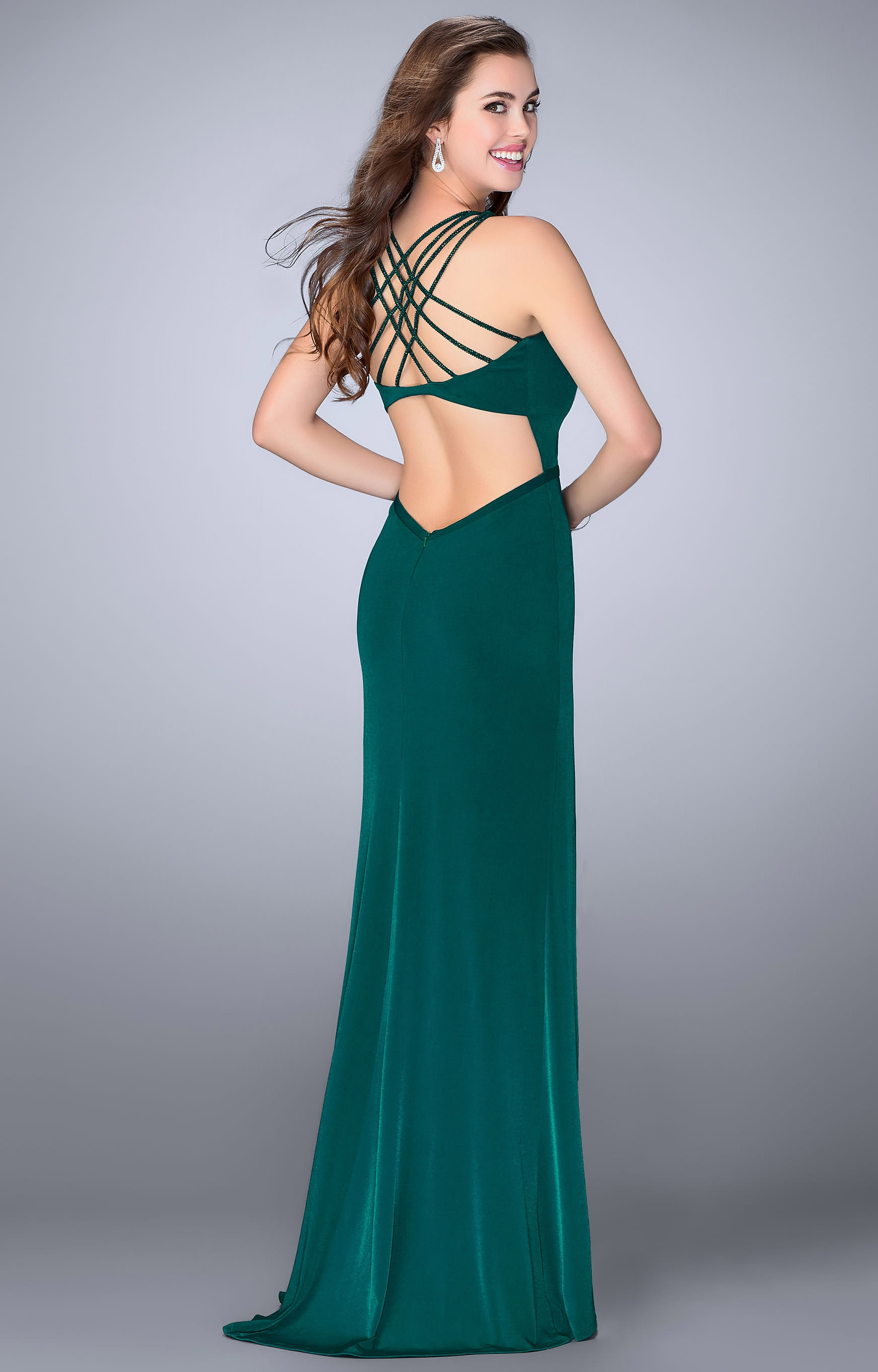 La Femme 24437 - Jersey Knit Dress with High Slit and Open Back Prom ...