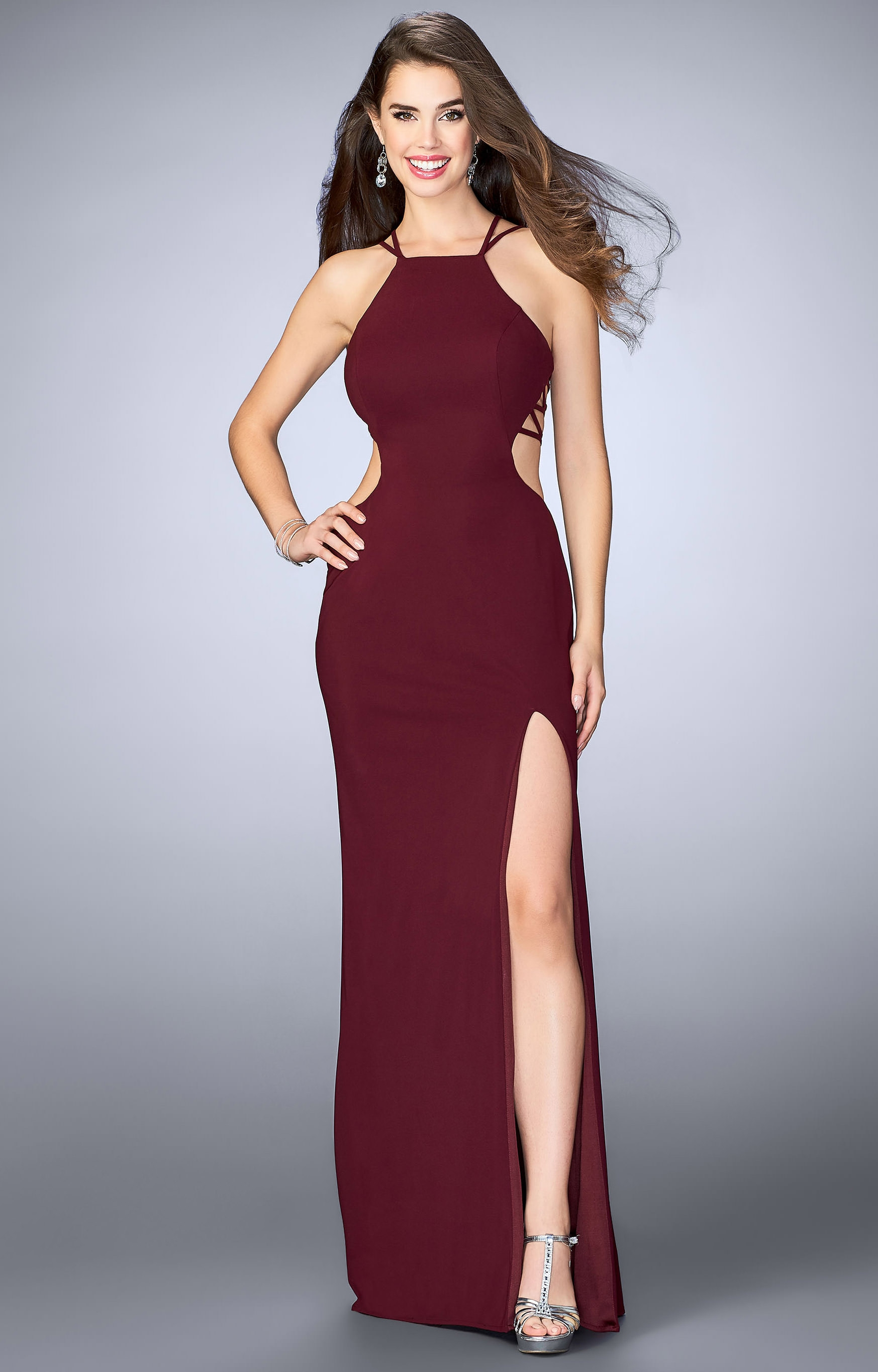 La Femme 24443 - Jersey Knit Halter Top Dress Prom Dress