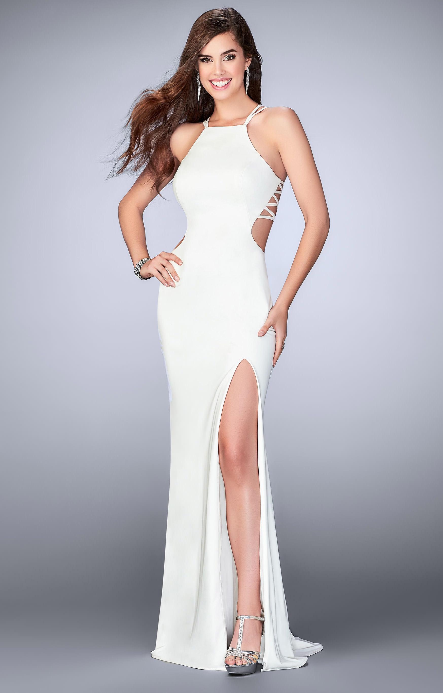 La Femme 24443 Jersey Knit Halter Top Dress Prom Dress
