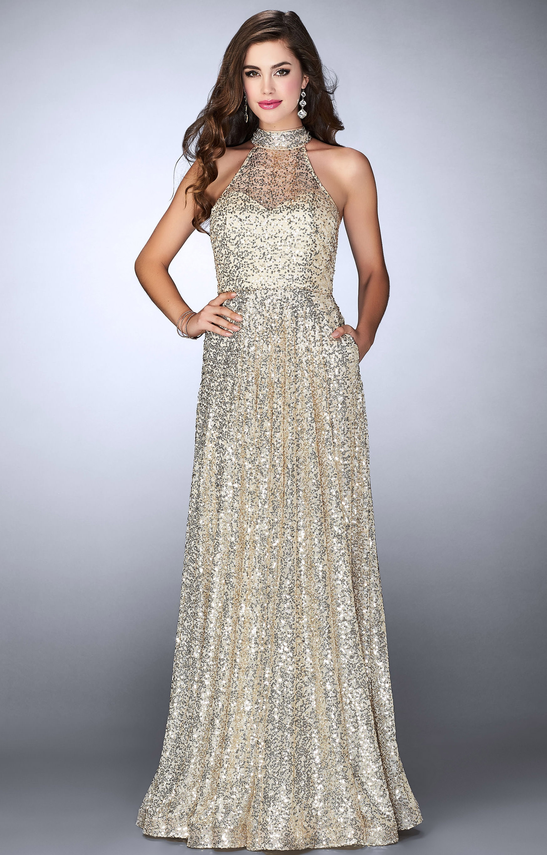 La Femme 24584 Sleeveless Halter Sequined A Line With