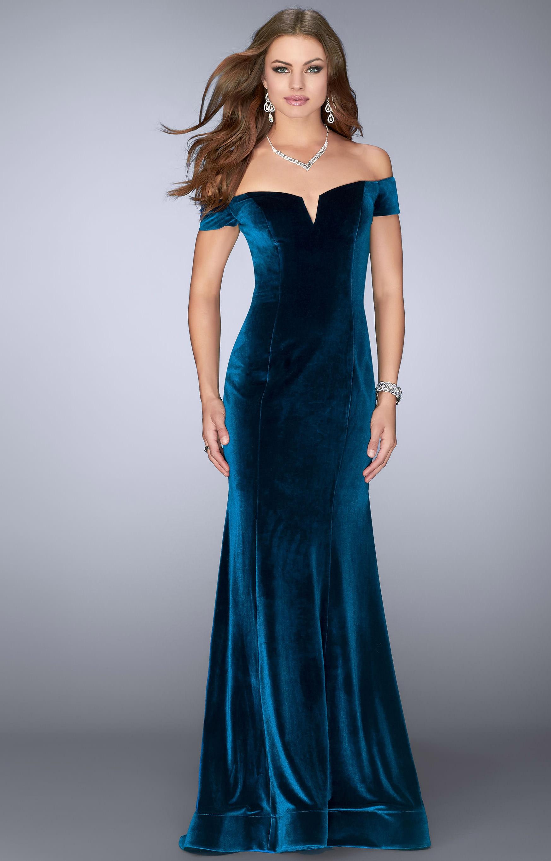 La Femme 24626 Velvet Cap Sleeve Dress Prom Dress
