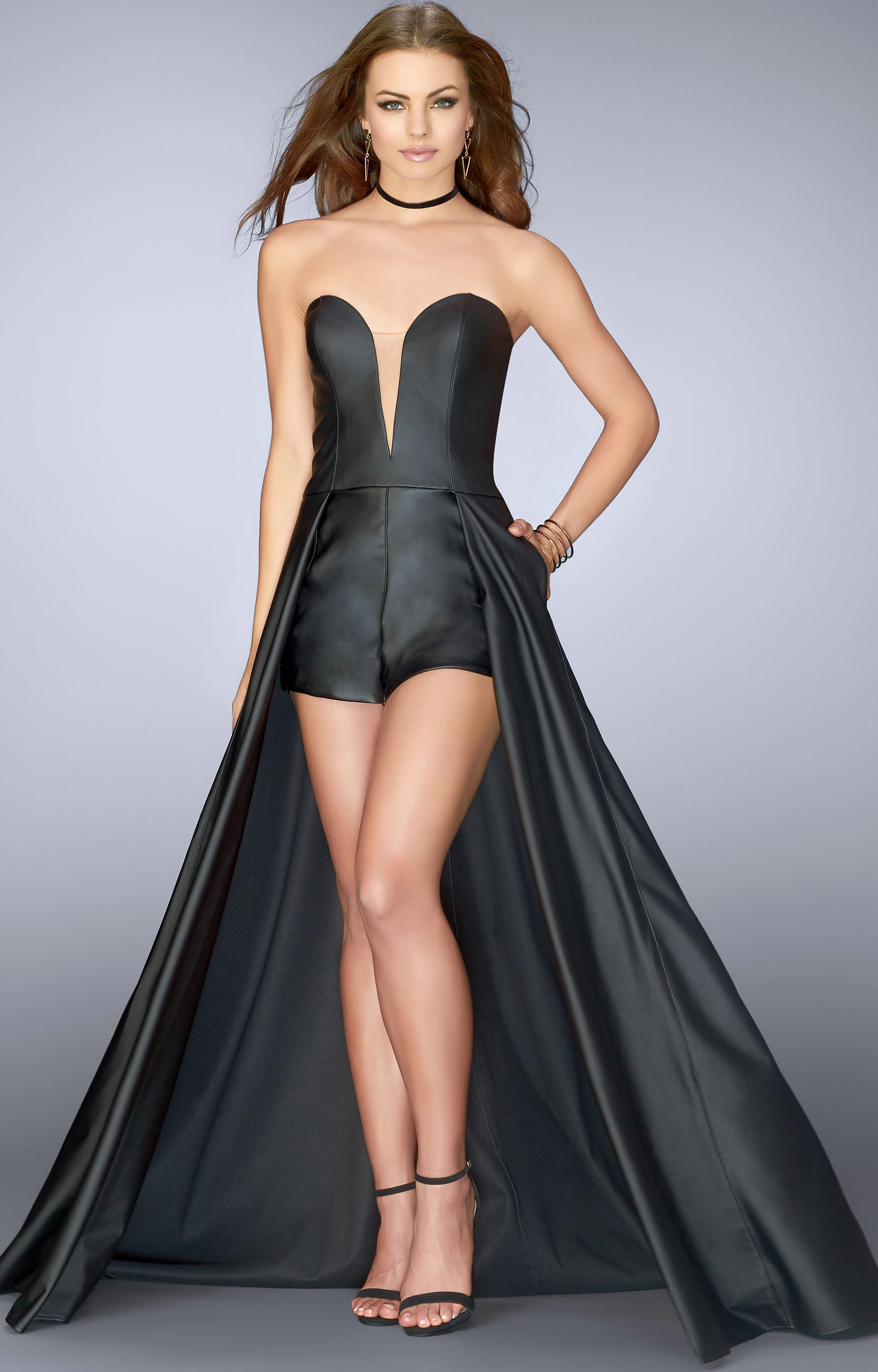 71f9f4fdb6b9 La Femme 24729 Shorts With Cape Formal. 6405 High Neckline Shorts W Overlay  Prom Dresses. Long And Short Prom Dresses Gowns 2019 Rachel Allan