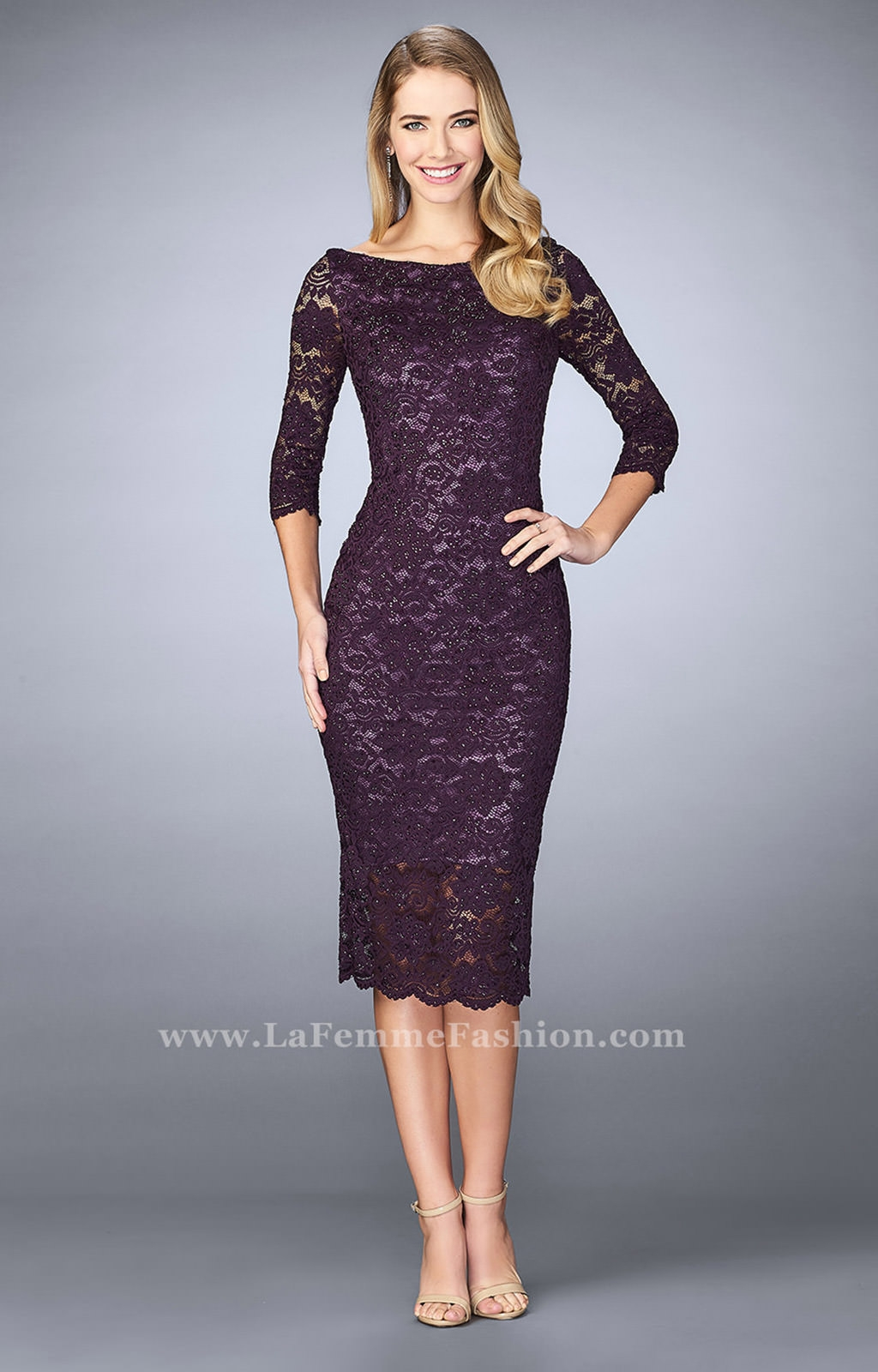 La Femme 24875 3 4 Sleeve Fitted Tea Length Dress Prom Dress
