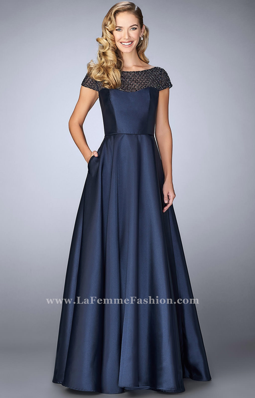 la femme 24883 cap sleeve dress with pockets prom dress