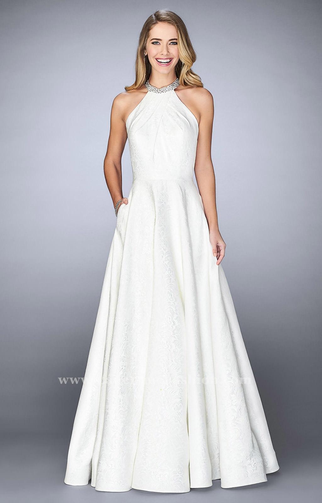 La Femme 24888 Halter Dress With Pockets And A Line