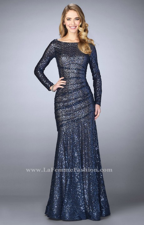 La Femme 24919 Long Sleeve Sequin Dress Prom Dress