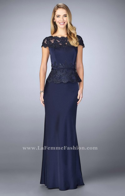 Modest Peplum Evening Gown