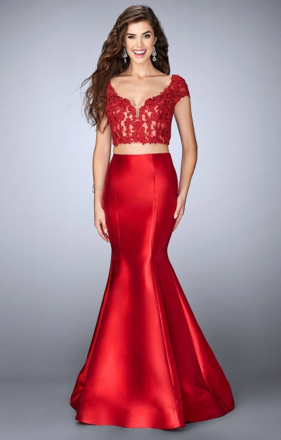 e0e99ef2c8ba4 La Femme 24239 2 Piece Mikado Mermaid with Lace Open Back Crop Top and Cap  Sleeves $438.00