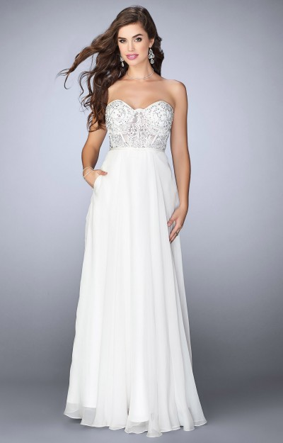 Strapless Sweetheart Poly Chiffon with Lace Bodice and Beaded Accents