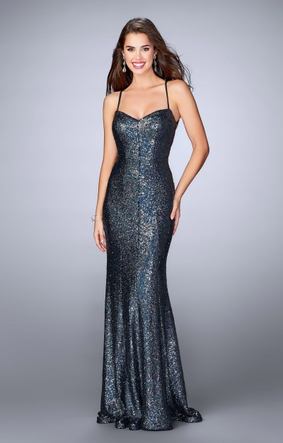 Fitted and Sequined Dress with Open Back