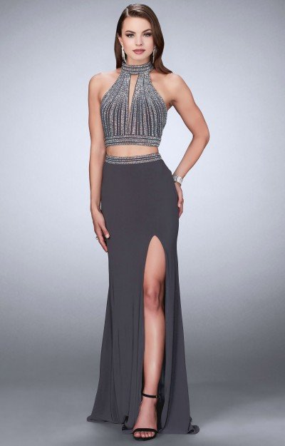 Two-Piece Sleeveless Halter A-Line with High Slit, Beading, and Open Racer Back
