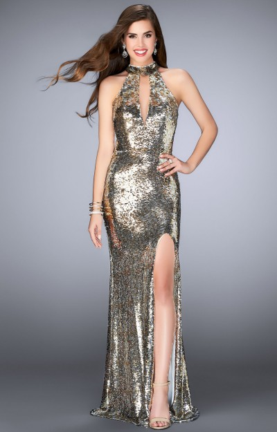 Sleeveless Halter A-Line with High Slit, Open Back, and Sequins