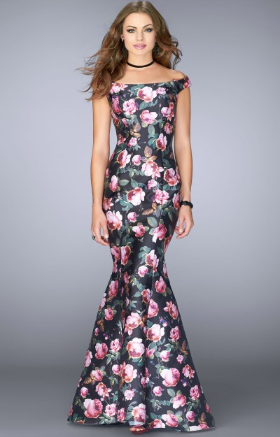 Off The Shoulder Floral Mikado Mermaid with Corset Back