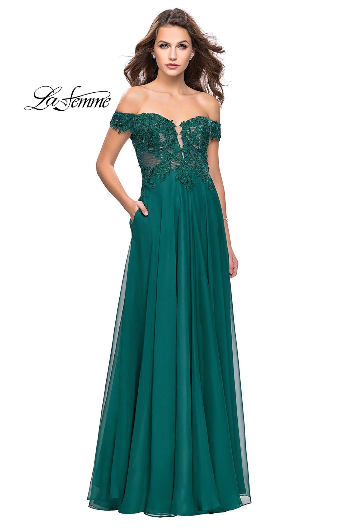 La Femme 25129 - Sweetheart Off the Shoulder Chiffon A-Line Prom Dress