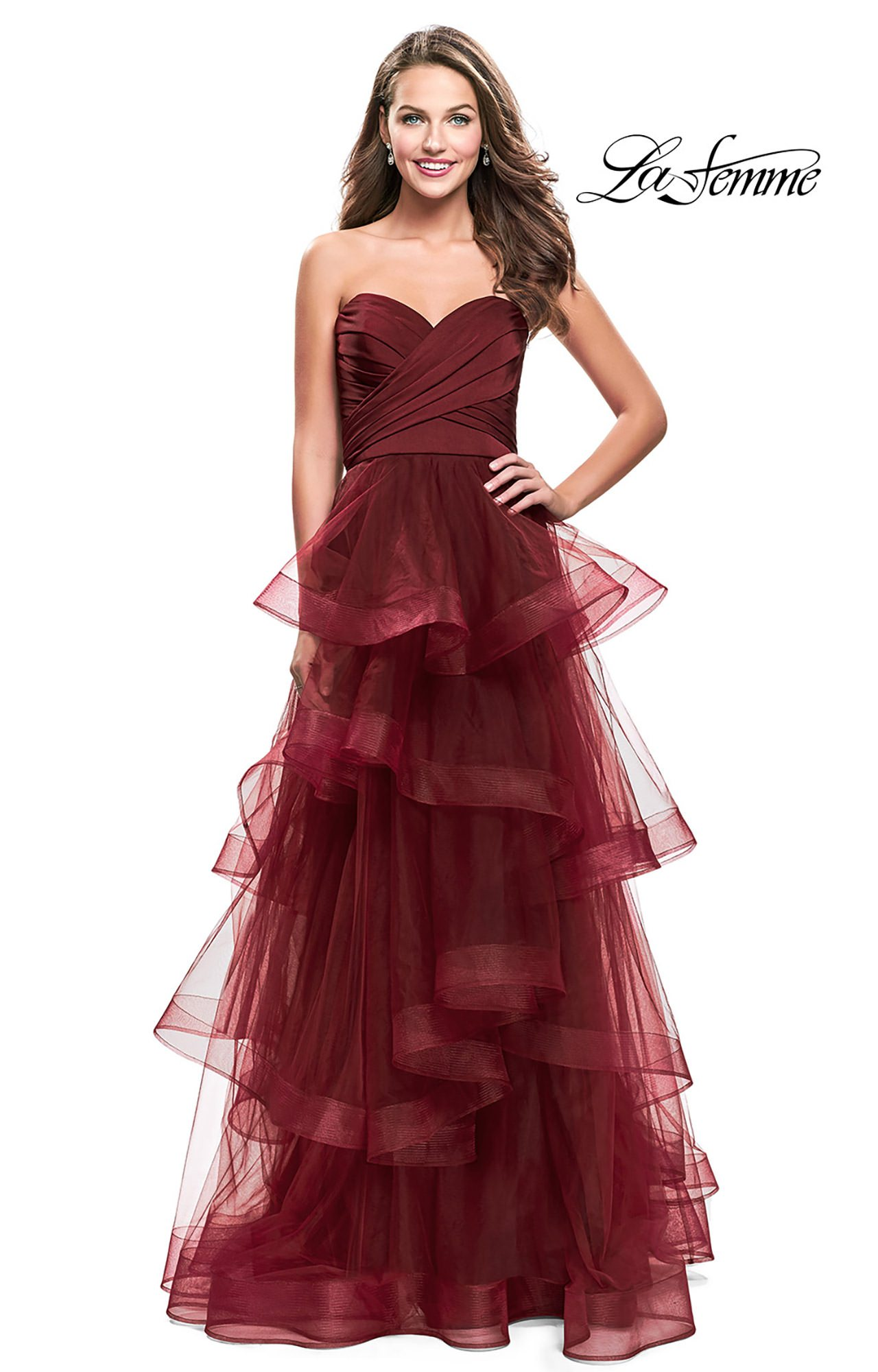 La Femme 25430 - Strapless A-Line Tulle Prom Dress