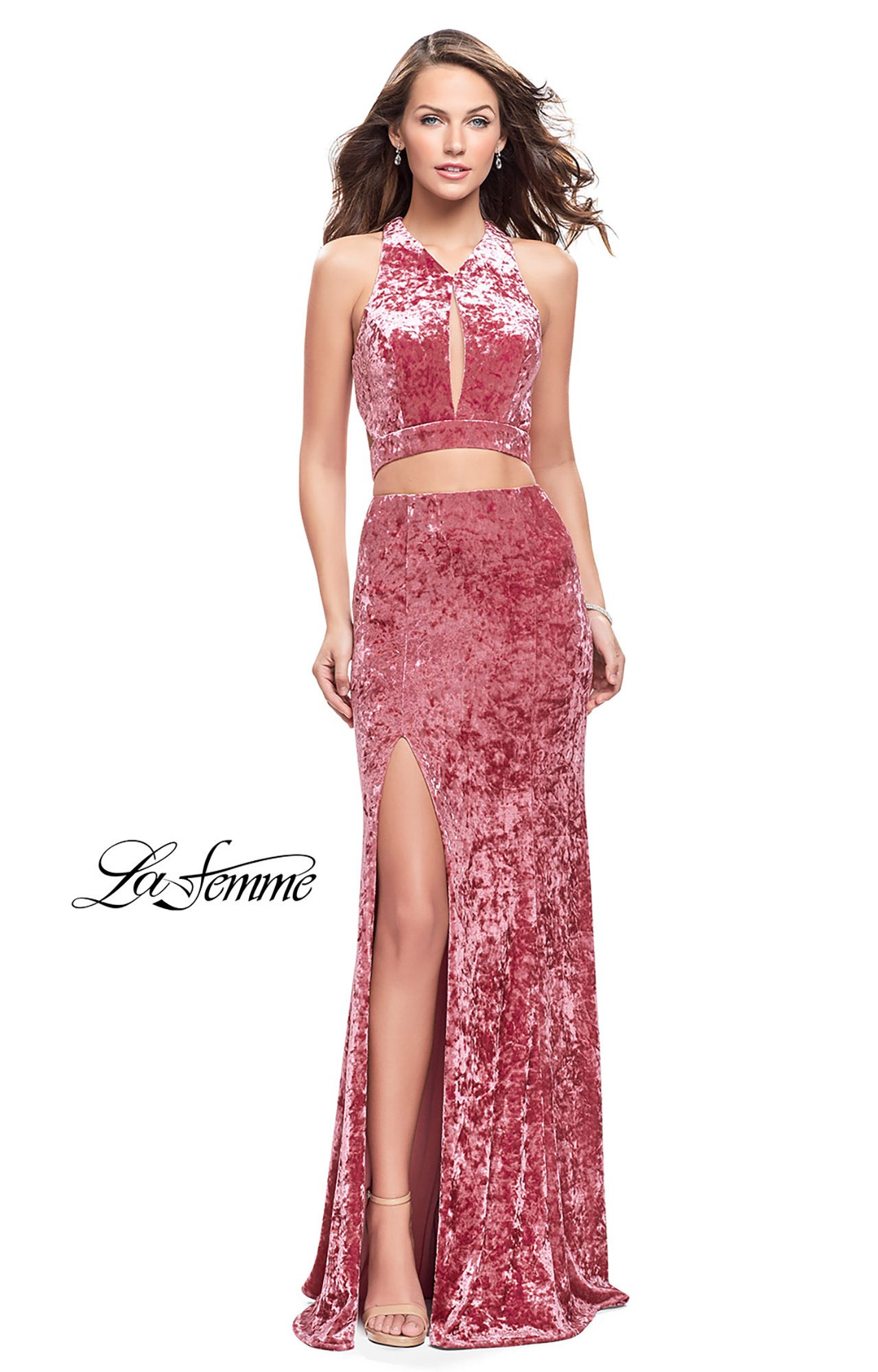La Femme 25500 - Long Fitted Crushed Velvet 2 Piece Prom Dress