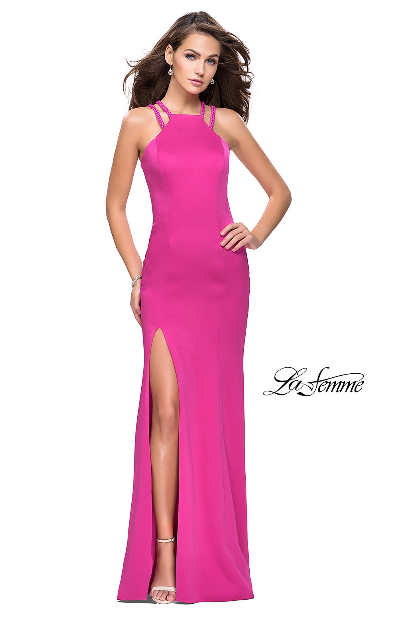 La Femme 25540 - Long Fitted Satin Prom Dress