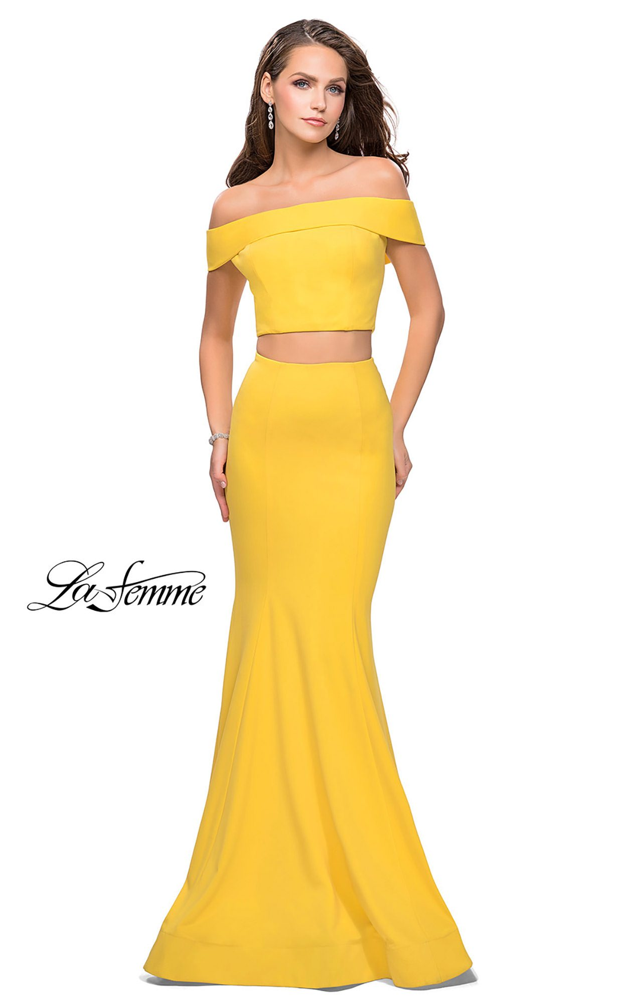 La Femme 25578 Long Fitted 2 Piece Jersey Prom Dress