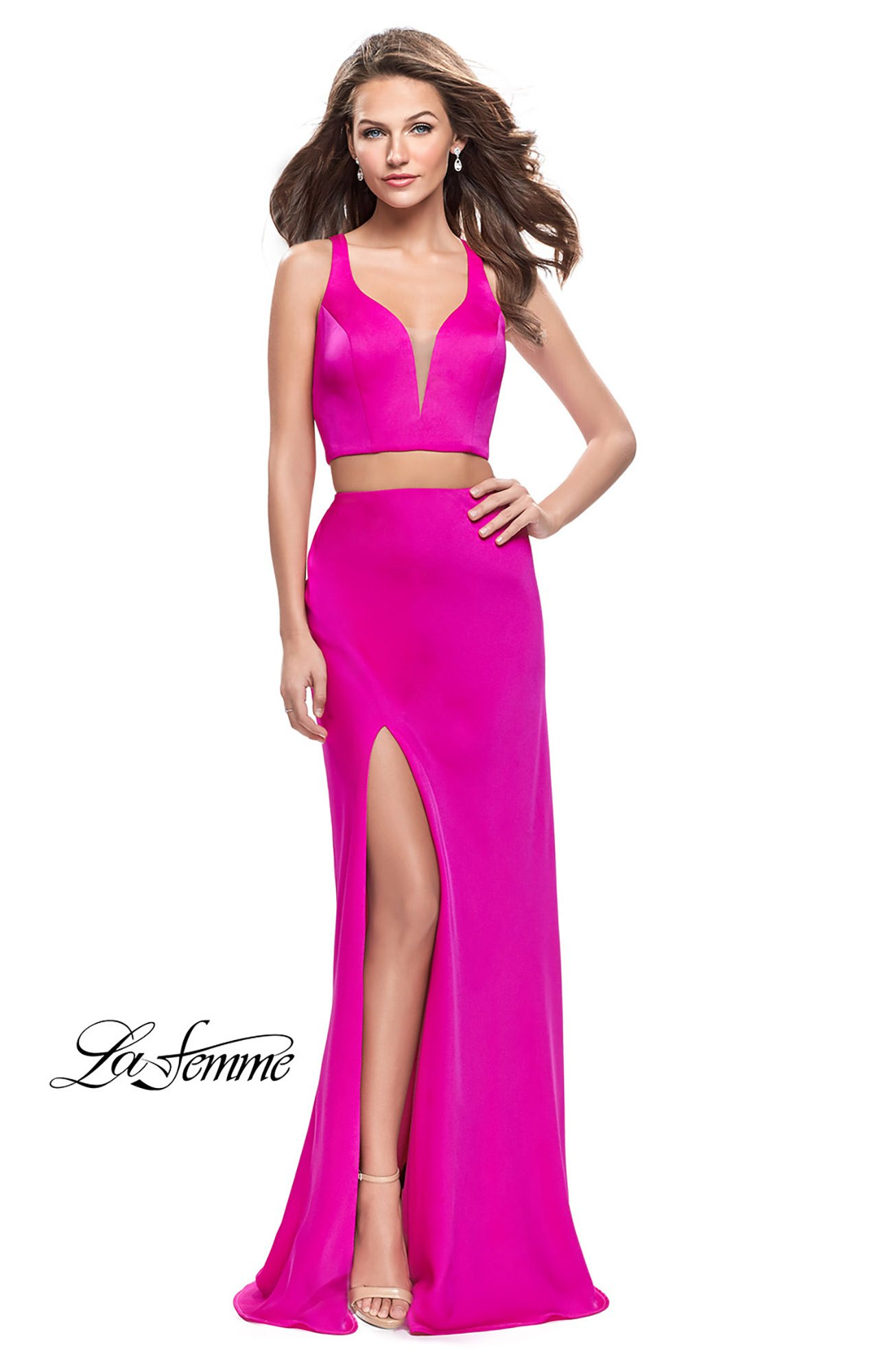 La Femme 25599 - 2 Piece Fitted Stretch Satin Prom Dress