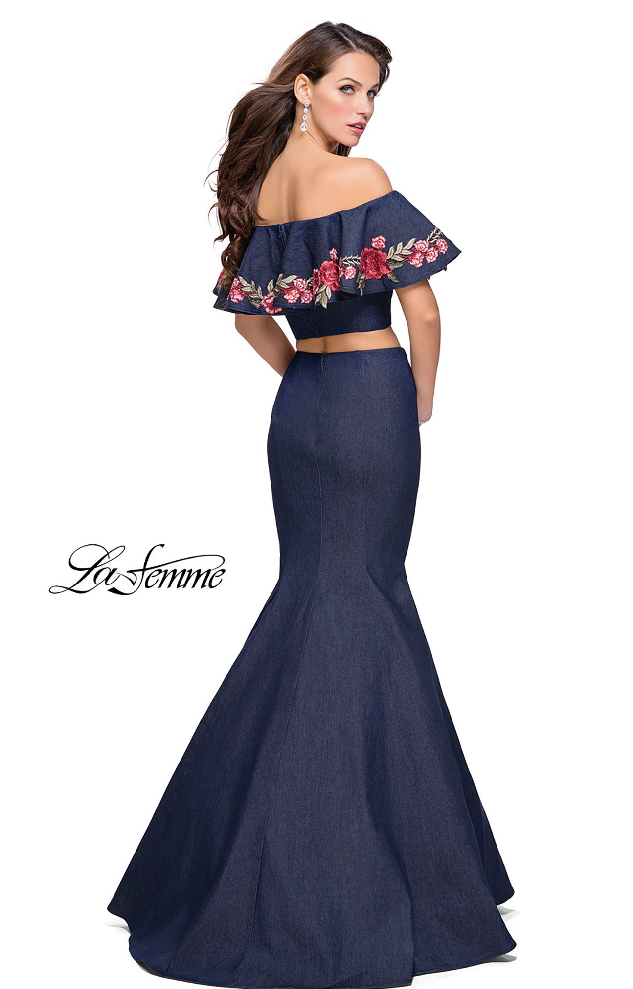 La Femme 26013 2 Piece Off The Shoulder Denim Prom Dress