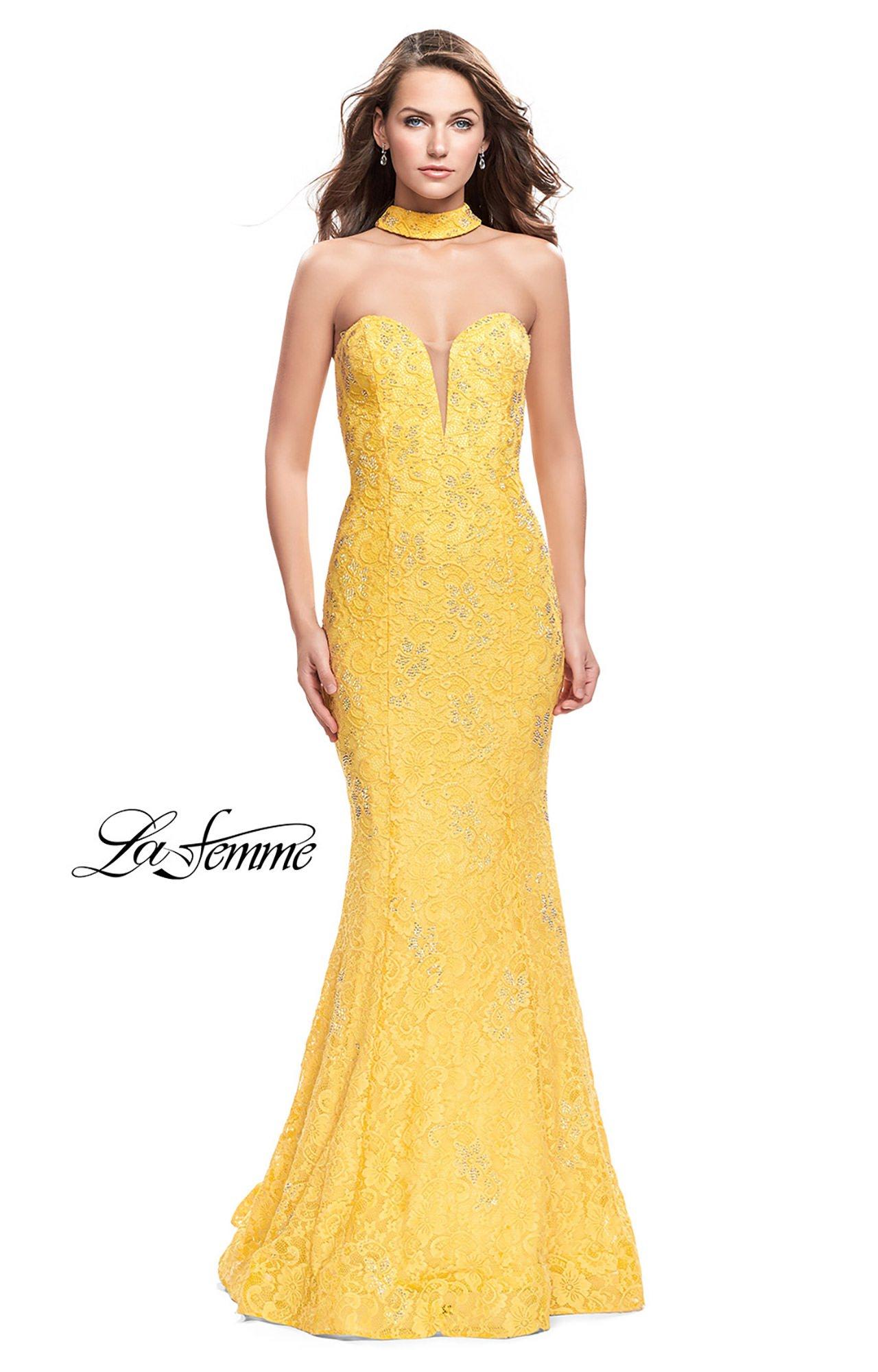 La Femme 26261 - Long Strapless Lace Choker Prom Dress