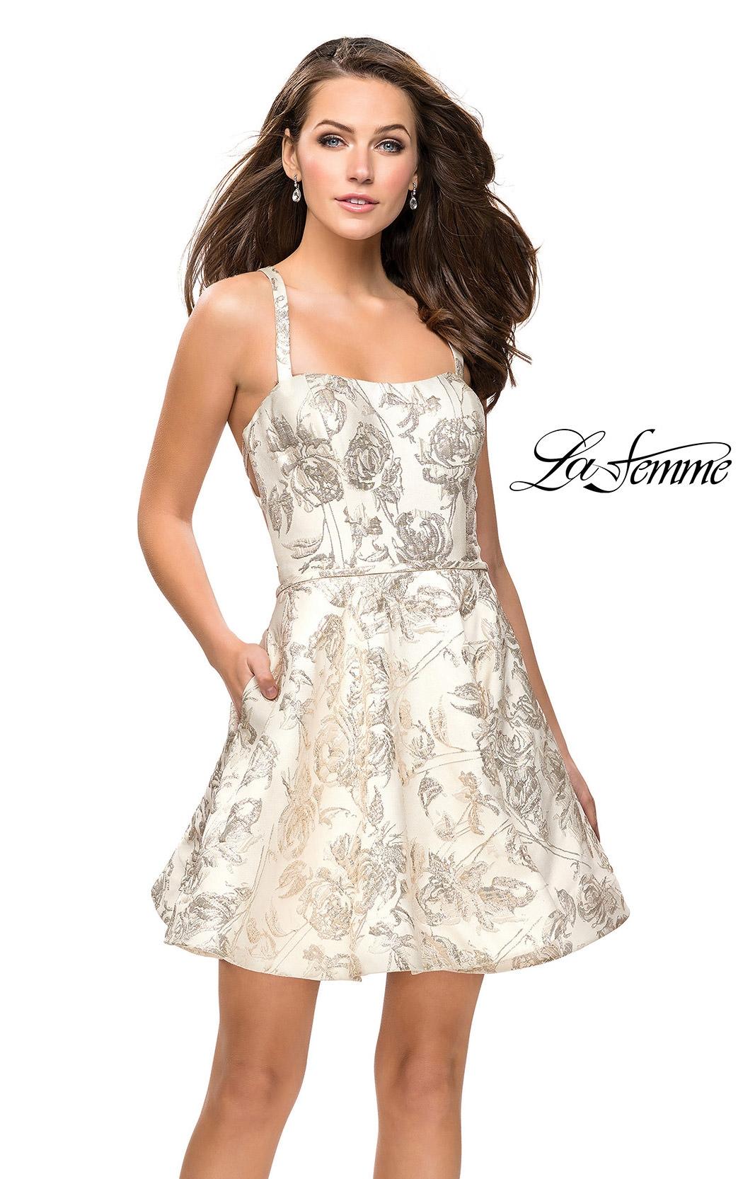 6e5fca41155f La Femme 26656 - Short A-Line Open Back Prom Dress