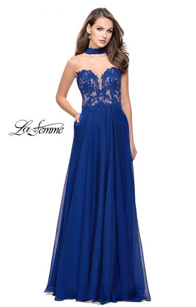 Long Strapless A-Line Chiffon