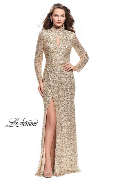 Long Fitted Sequins with Sleeves