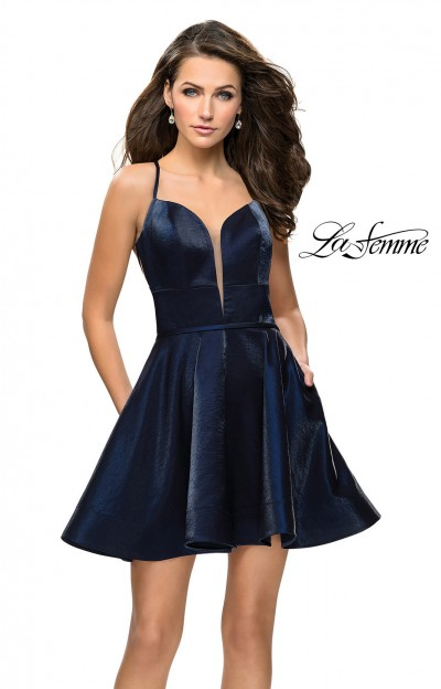 Short A-Line Open Back Prom Dress