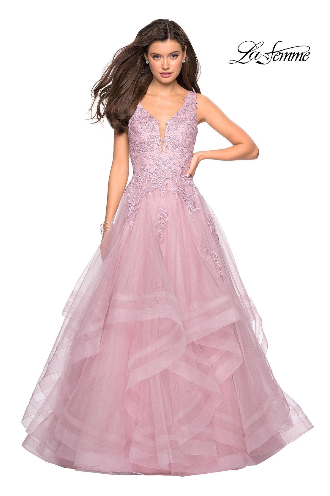 d42bba19081e La Femme 27256 - Lace V-Neckline Tulle Evening Gown