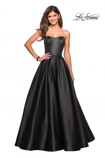 b047fab5145f La Femme 27280. Strapless Shimmering Metallic Ball Gown Dress $478.00