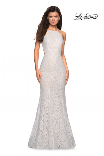 High Neckline Fitted Lace Mermaid Dress