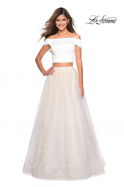 Off the Shoulder 2 Piece Tulle Dress