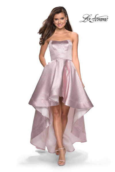 5016ff87d03 Strapless High Low Metallic Gown  298.00