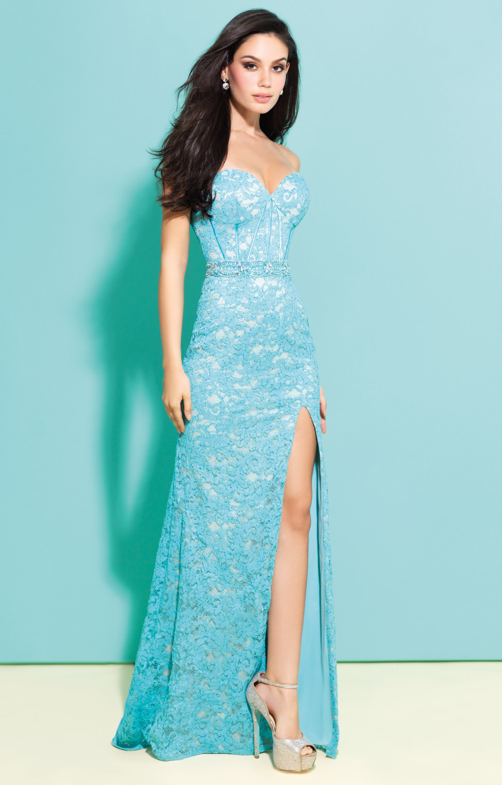 Madison James 17223 - Sexy Sweetheart Strapless Fitted Lace Dress ...